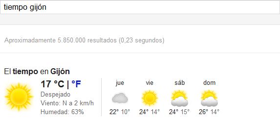 Google Consultar tiempo
