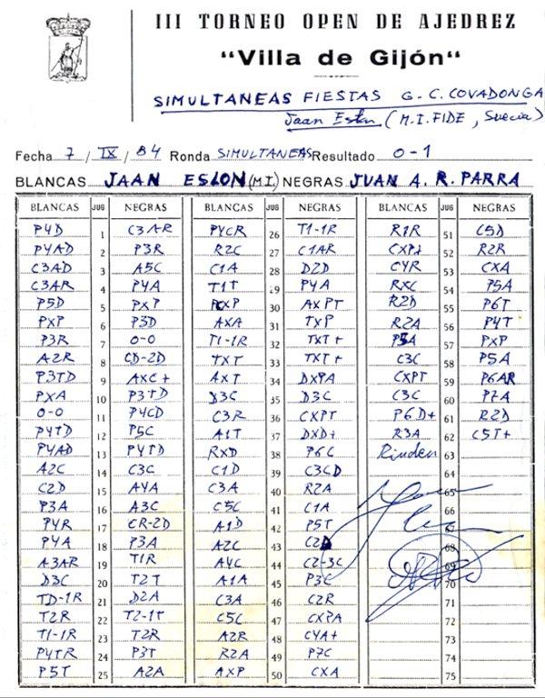 Planilla partida contra Jaan Eslon