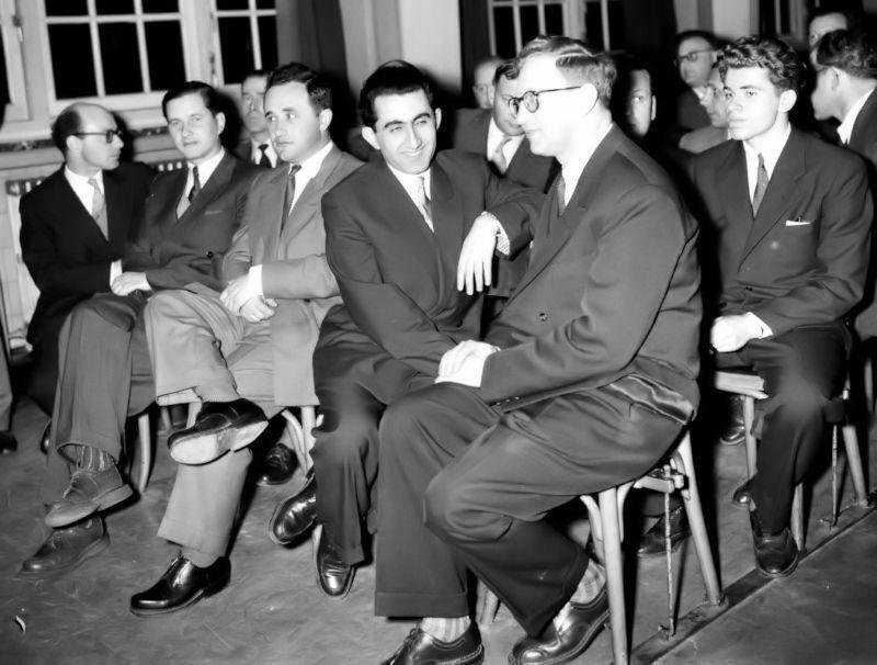 1956 Candidatos Ámsterdam. Ceremonia inaugural y sorteo: Bronstein, Keres, Géller, Petrosián, Smyslov y Spássky