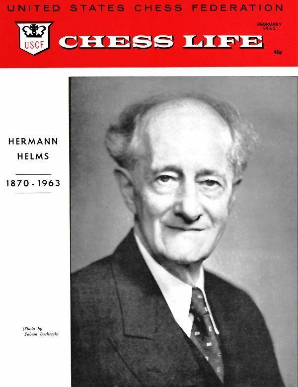 Fallecimiento de Helms en la portada de la revista 'Chess Life', febrero de 1963