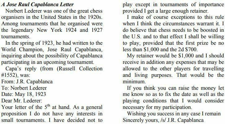 Carta de Capablanca a Lederer